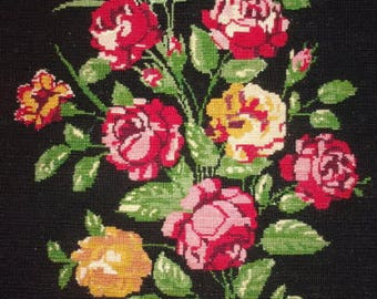 A tapestry (canvas), flowers, roses, old