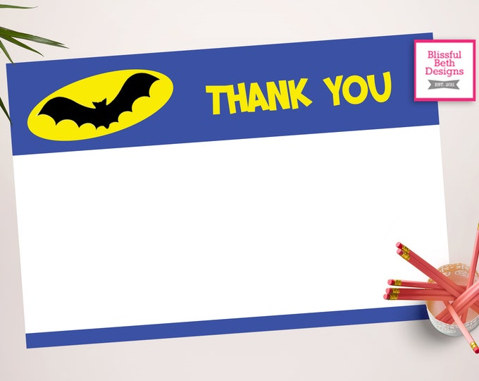 BATMAN THANK YOU, Batman Printable Thank You Notes, Instant Download, Instant Batman Thank You Note, Thank You Note, Batman Note