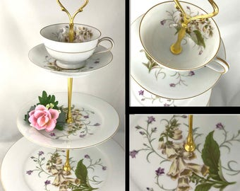 3 Tiered Cake Stand Teacup Top Floral Serving Tray Noritake #5226 Canterbury Three Tier Tea Cup Top Dessert Stand White Purple Green China