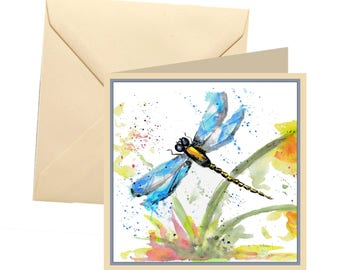 Dragonfly greetings card, blank card, greetings card, birthday card, dragonfly blank card, wildlife card, thank you card