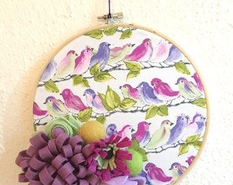 Hoop art, hoop art embroidery, felt flowers, embroidery hoop, felt flower wreath, purple felt flowers, embroidery hoop wall art, ooak