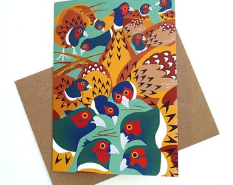 Pheasants Greetings Card