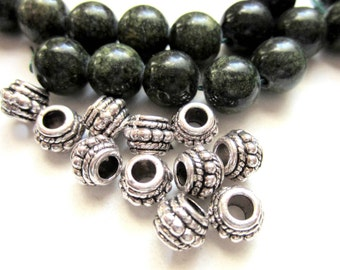 24 Antique silver beads tibetan style spacer beads  jewelry supplies 8mm x 6mm -A0009-(S5)