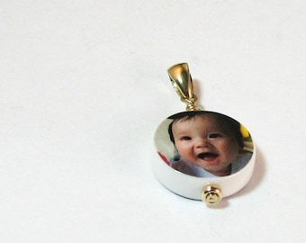Round XSM Photo Charm - 14K Gold Edition - C6G