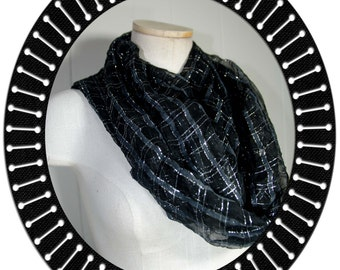 Cowl / Infinity Scarf Black and Sliver Striped   38 circumferece by 18 inches Loop Scarf Eternity Scarf