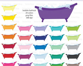Bubble Bath or Clawfoot Tub Icon Digital Clipart in Rainbow Colors - Instant download PNG files
