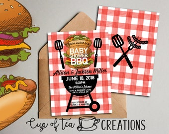 Baby Shower BBQ Invitation, Couples Baby Shower Invitation, Coed Baby Shower Invitation, Barbecue Baby Shower Invitation