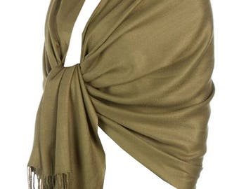 Pashmina Shawl  Bridal Scarf Silky Feel Bridal Shawl Bridesmaid Gift  Wedding Gift Scarf/Shawl/Gift For Day To Evening Occasions (Olive)