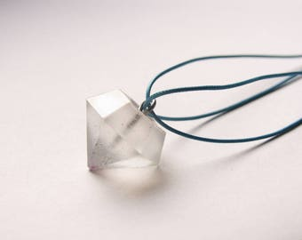 Big diamond resin necklace with glitter, sparkling, long necklace, resin crystal