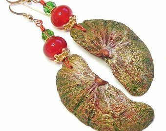 Organic Seed Pod Segments Earrings, Handcrafted Polymer Clay, Unique Wearable Art, Red Green & Gold Jewellery, OOAK (One of a Kind)