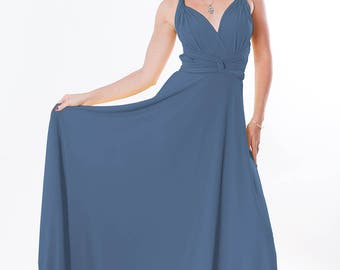 Bridesmaids dress  Convertible/Infinity Dress - floor length matching tube top  in jeans color