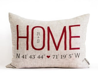 Custom Home Coordinates Pillow, Housewarming Gift, Just Moved, New Home, Linen Anniversary Gift, Realtor Closing Gift, 2nd Anniversary