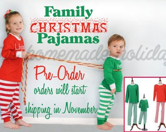 Family Christmas Pajamas, red and white or green and white striped christmas pajamas, monogramed christmas pajamas, matching holiday pajamas