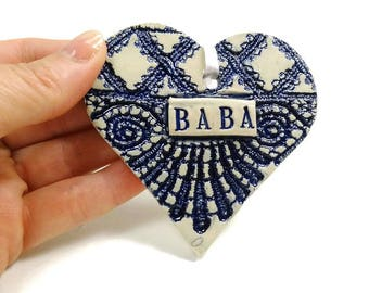 Baba Heart Ornament, Baba Valentine, Russian Grandmother, Baba Birthday, Mother's Day Gift, Grandparent Gift, Serbian Grandmother