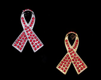 Crystal Red Ribbon Bow AIDS HIV Substance-abuse Heart Disease Drunk Driving Prevention Awareness Brooch Pin Silver Tone Gold Tone