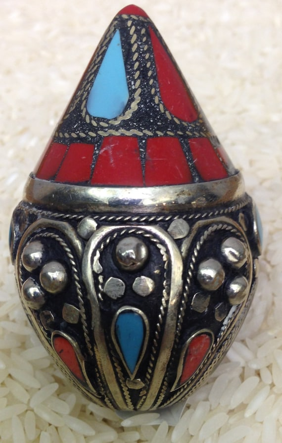 Ring Silver Turquoise Coral Inlay Silver Beads Midle Eastern Kuchi Ring Handmade Turquoise Red Coral Tribal Statement Unique