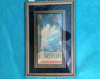 "R. Atkinson Fox ""Dreamy Paradise"" Print Wood Framed Serving Tray Unmarked"