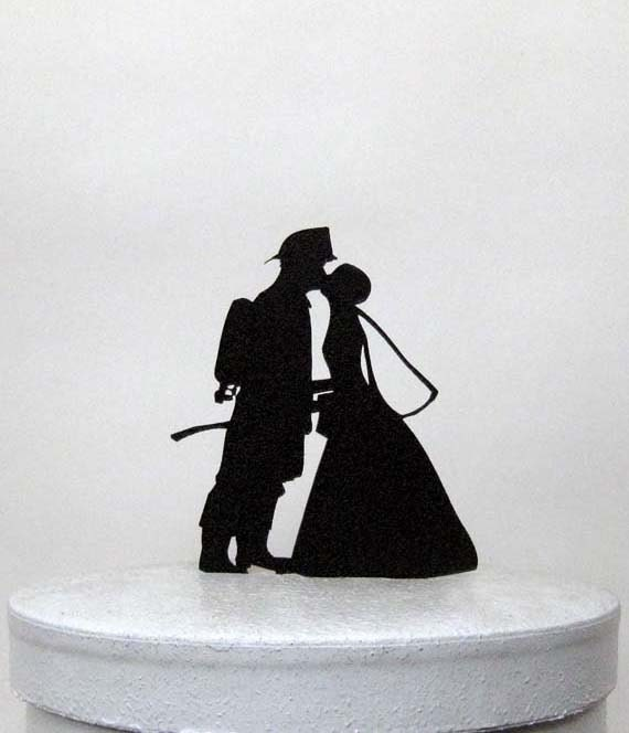 Wedding Cake Topper Firefighter And Bride Silhouette