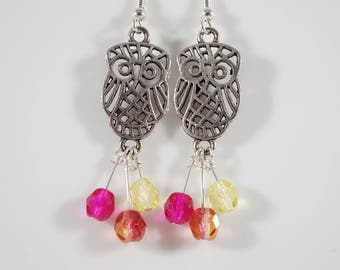 Who's the Cutest? - Owl charm earrings with pink or sherbet bead dangles