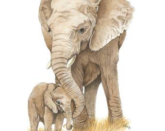 Elephant and baby print, elephant art, african elephant print