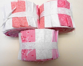 Pink and White Jelly Roll Fabric Strips - Quilt Strips Jelly Roll - SEW FUN QUILTS Time Saver Quilt Kit