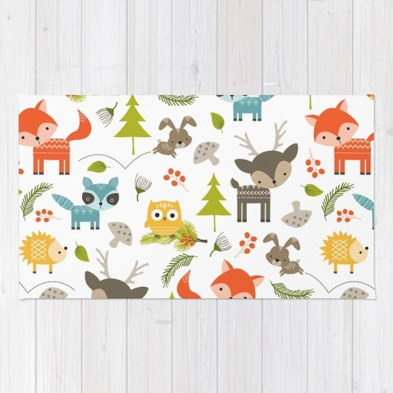Kids Area Rug Woodland Animals Print Rug Kids Bath Mat 3x5 4x6