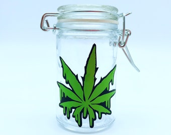 stash jar weed containers stoner airtight smell proof container stoner gifts. stash jars weed leaf pot leaf 4:20 smoking accessories weed