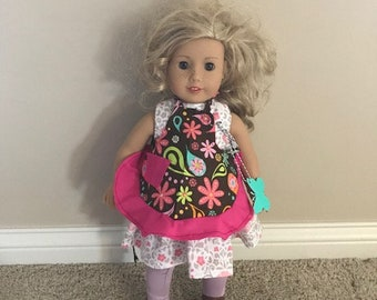 """18"""" Doll Pink and Brown Apron"""