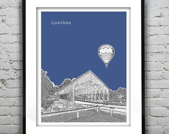 Quechee Vermont Skyline Poster Art Print VT Covered Bridge with Balloon Item T1258