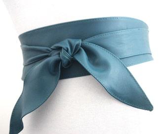 Teal Leather Obi Belt Tulip Tie | Teal Waist Corset Belt | Leather tie belt | Real Leather Belt| Handmade Belt