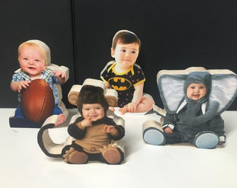 Wood Photo Statuette Ornament Gift Family Pets Kids Parents Block Pictures Holiday Christmas