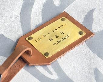 Custom Leather Luggage Tag Personalized Luggage Tag Travel Accessory Mens Gift, Custom Wedding Gift