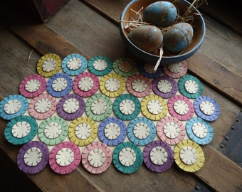 Pre-cut penny rug kit to make for Spring