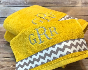 Personalized Towels, hand towel, bathroom, personalized gift, embroidered  towels, yellow grey, gray and yellow, monogrammed towel, 3 letter