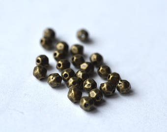 SET bead metal faceted oval brass 4 mm x 10