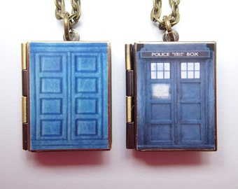 Dr Who Inspired Resin Covered Locket Book Necklace * River Song's Journal * Tardis *