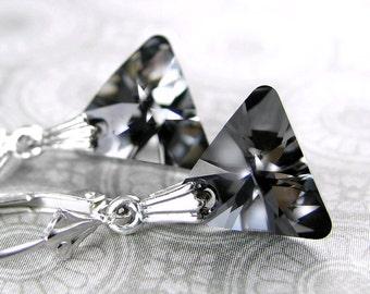 Dark Gray Earrings Sterling Silver Leverback Earrings Dainty Swarovski Crystal Triangle Earrings Geometric Charcoal Gray Crystal Earrings