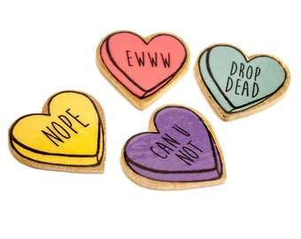 bitter sweet candy heart pins / four colors to choose from