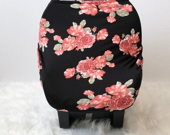 Pink Floral and Black Stretchy Car Seat Cover, Girl Carseat Canopy, Car Seat Canopy, Baby Boy, Baby Girl, Girl Car Seat Covers, Baby Gift