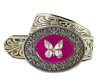 Butterfly Belt Buckle Inlaid in Hand Painted Fuchsia Opaque Enamel Belt Buckle for Snap Belts Tropical Accessory Custom Colors Available