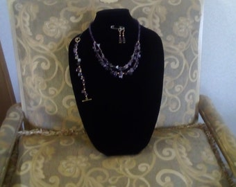 Amethyst and agate bead jewelry set
