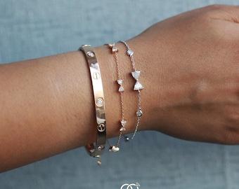 Bow Tie Bracelet, Rose Gold Bracelet, Petite 18k Rose Gold Bow Tie Bracelet, Dainty Bracelet, Diamonds By The Yard Bow Tie Bracelet