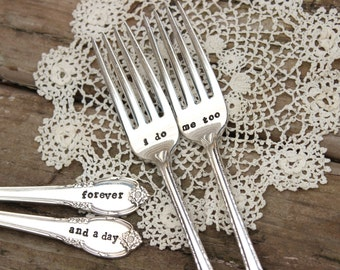 I do Me Too Forever and a Day Wedding Fork Set - Cake Dinner - Hand Stamped - Vintage Silver Plated Flatware - mr mrs