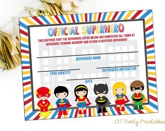 INSTANT DOWNLOAD - Superhero Certificate - Superhero Printables - Superhero Academy - You Print - Superhero Party - Superhero Birthday