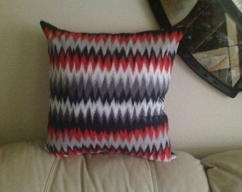 Gray and Red Flame Throw Pillow