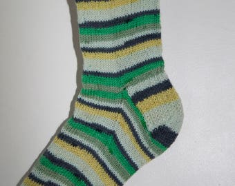 Handknitted Unisex Socks in Shades of Green