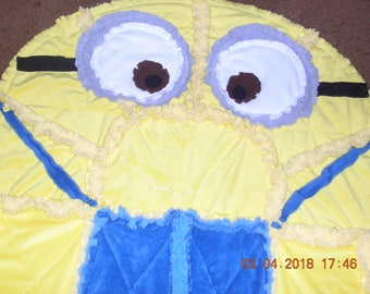 Minion quilted rag blanket, minion baby quilt, minion child rag quilt, blue minky minion quilt, minion shape quilt, child quilt gift