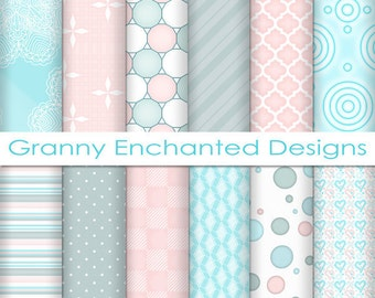 Soft Beach: 12 Digital Papers– in Teal, Blue, White, and Blush Patterns for Digital Backgrounds, Invitations, and Scrapbook Paper (007p2)