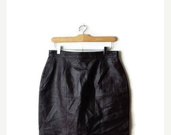 ON SALE Vintage Dark Brown Leather Pencil skirt /Midi Skirt from 80's/W28*