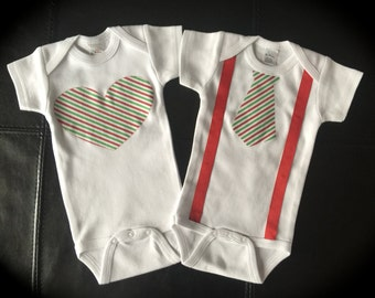 TWINS Christmas one pieces for boy girl novelty cute gift heart neck tie